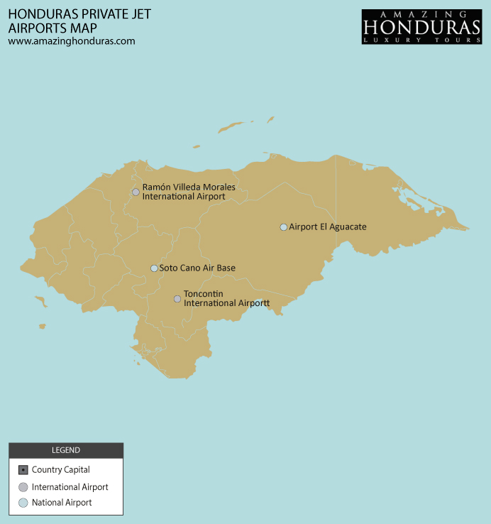 Honduras private jet heliports map